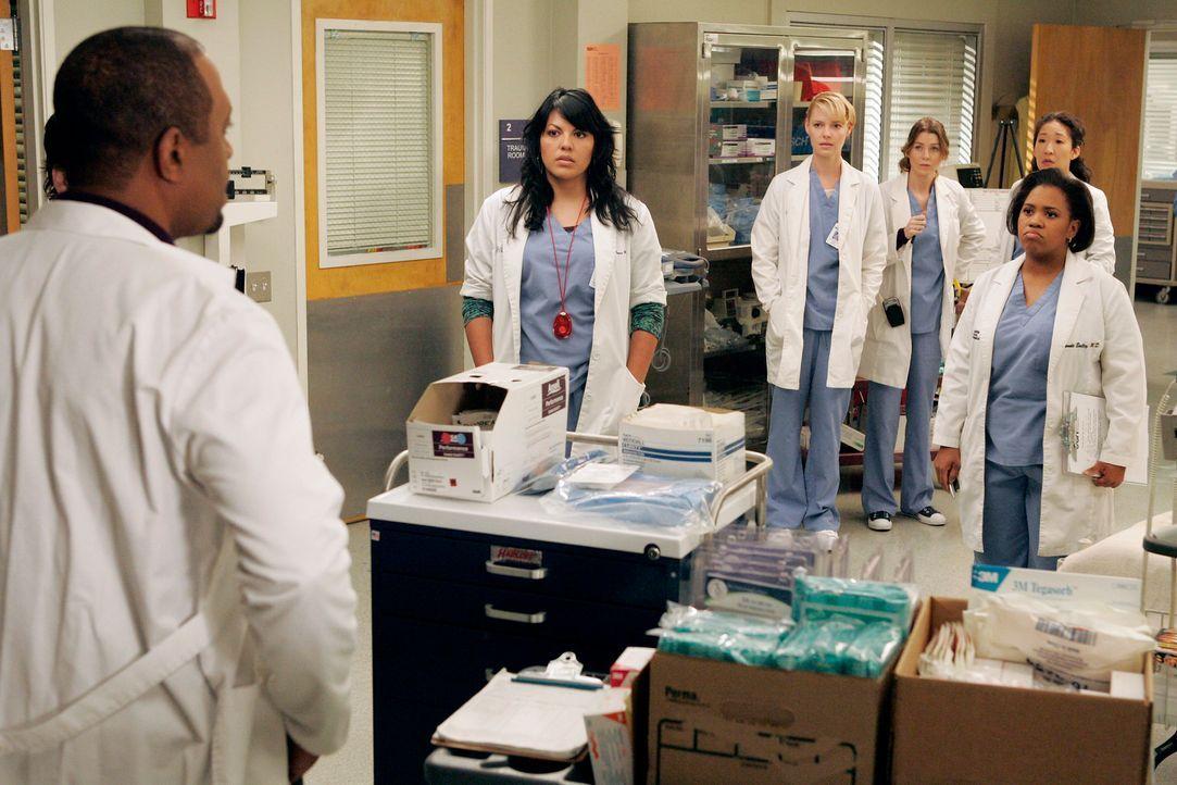 Während einer Übung, werden Bailey (Chandra Wilson, r.), Izzie (Katherine Heigl, 3.v.l.), Meredith (Ellen Pompeo, M.), Callie (Sara Ramirez, 2.v.l... - Bildquelle: Touchstone Television