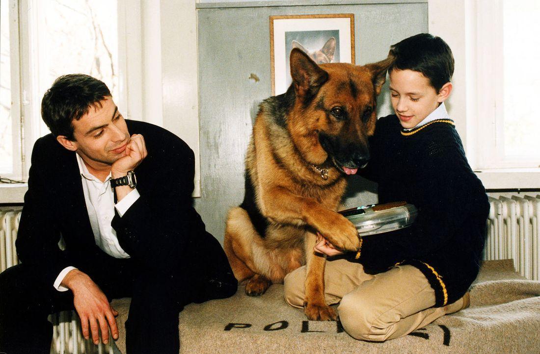 Rex und Kommissar Brandtner (Gedeon Burkhard, l.) ist es gelungen, das Vertrauen des kleinen Maximilian Kordes (Laurence Rupp, r.) zu gewinnen. Die... - Bildquelle: Ali Schafler Sat.1