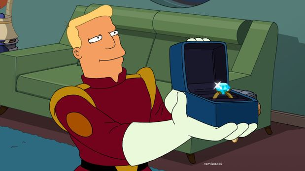 Futurama - Auf einem ihrer Trips lernt Munda den attraktiven Zapp Brannigan k...