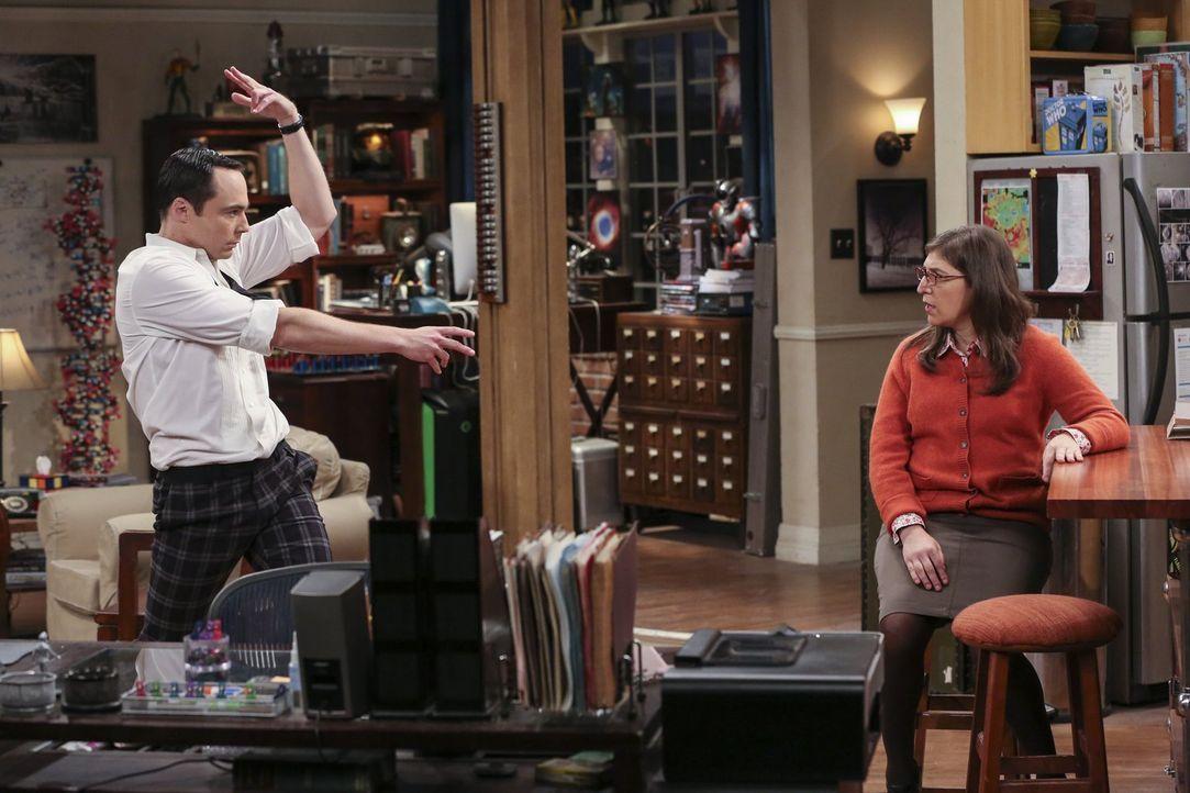 Sheldon (Jim Parsons, l.) legt sich mächtig ins Zeug: Aber wie kommt sein Balzverhalten bei Freundin Amy (Mayim Bialik, r.) an? - Bildquelle: 2016 Warner Brothers