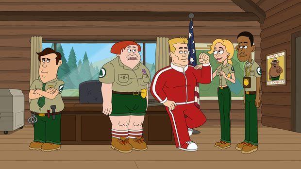 Bereiten sich auf die Ranger-Spiele vor: Woody (M.), Connie (2.v.l.), Ethel (...