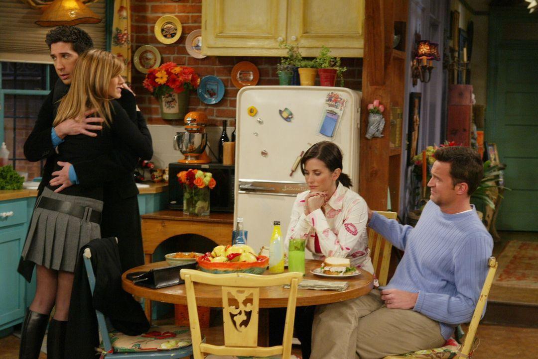Für Monica (Courteney Cox, 2.v.r.), Ross (David Schwimmer, 2.v.l.) und Chandler (Matthew Perry, r.) bricht eine Welt zusammen, als sie erfahren, das... - Bildquelle: 2003 Warner Brothers International Television