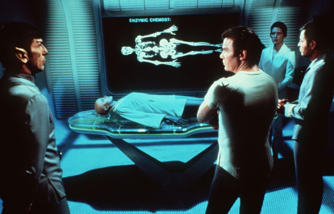 Captain James T. Kirk (William Shatner, 2.v.l.), Cmdr. Spock (Leonard Nimoy, l.), Dr. McCoy (DeForest Kelley, 3.) und Dr. Christine Chapel (Majel Ba... - Bildquelle: Paramount Pictures