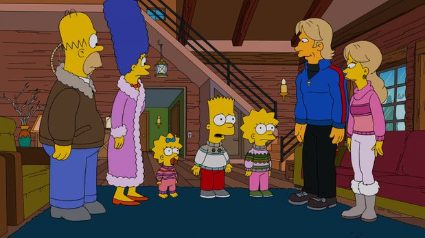 Die Simpsons - Nachdem sie einen Tornado überlebt haben, suchen Marge (2.v.l....