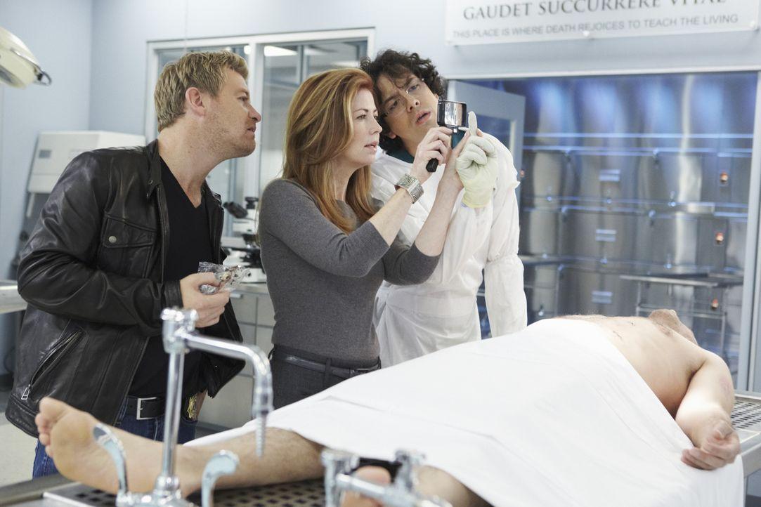 Gemeinsam versuchen Megan (Dana Delany, M.), Peter (Nicholas Bishop, l.) und Ethan (Geoffrey Arend, r.) ein verbrechen auf Verbrechen auf ihre ganz... - Bildquelle: ABC Studios
