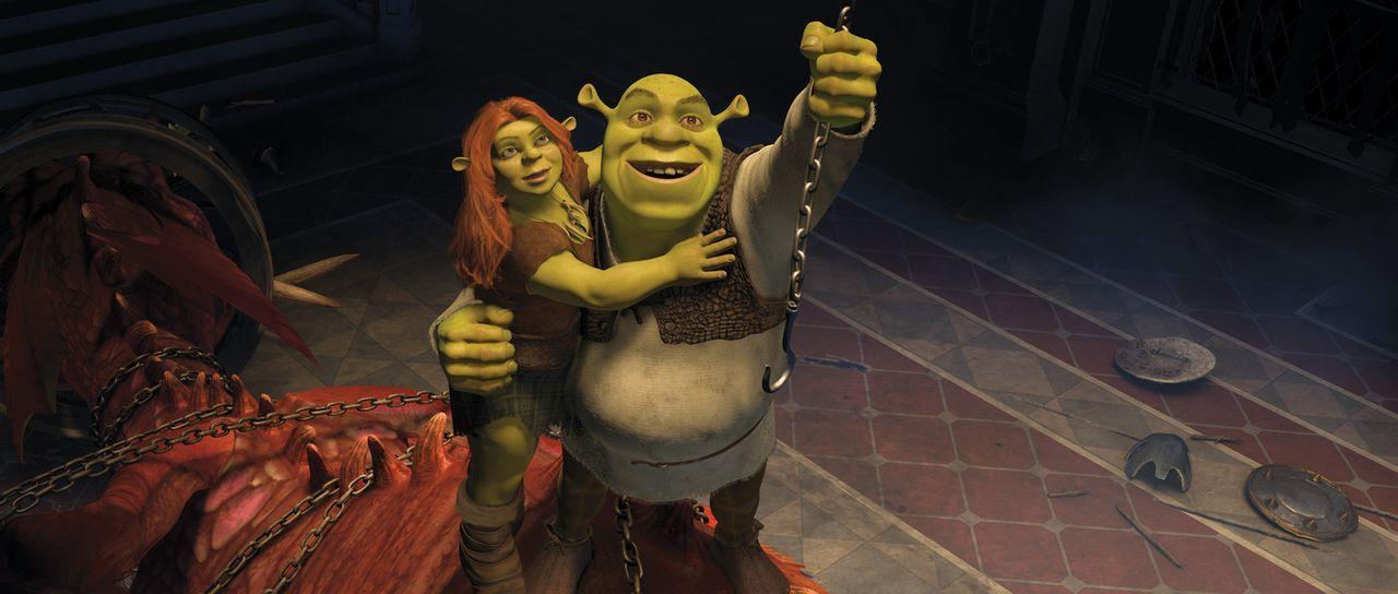 """Wird es Shrek (r.) und Fiona (l.) gelingen, aus der alternativen Parallelwelt des Königreichs """"Weit Weit Weg"""" zu entkommen und wieder ein normales... - Bildquelle: 2012 DreamWorks Animation LLC. All Rights Reserved."""
