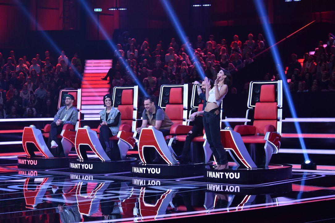 S1_VoiceKids_SD1_Nachbericht_Leonie; Mark Forster; Stefanie Kloß; Sascha Vollmer; Alec Völkel; Lena Meyer-Landrut - Bildquelle: SAT.1/Andre Kowalski