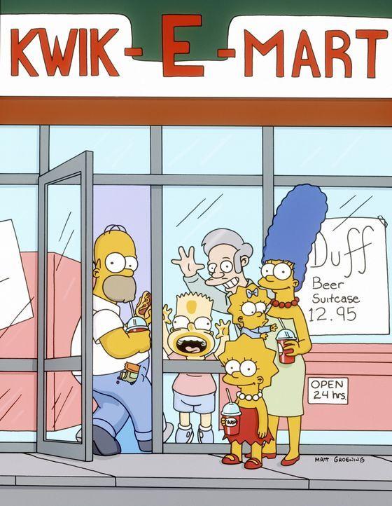 (12. Staffel) -  (v.l.n.r.) Homer, Bart, Lisa, Maggie und Marge Simpson sind die beliebtesten Kunden vom Kwik-E-Mart-Besitzer Apu (hinten). - Bildquelle: und TM Twentieth Century Fox Film Corporation - Alle Rechte vorbehalten