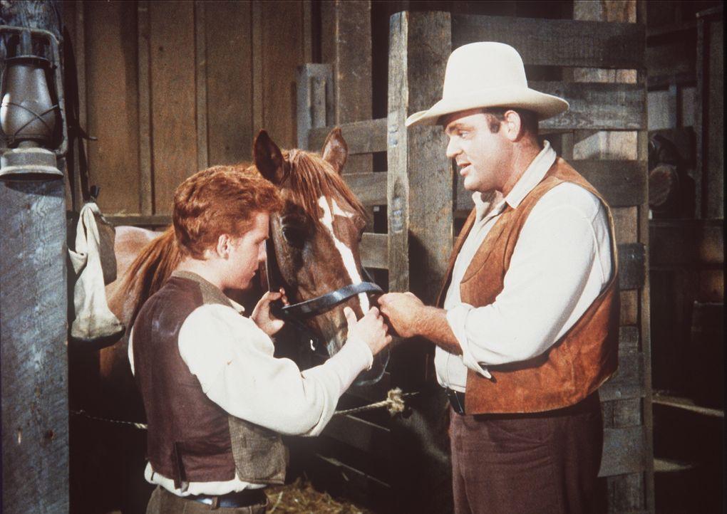 Hoss (Dan Blocker, r.) nimmt den tierlieben Skeeter (Eddie Hodges, l.) mit auf die Ponderosa. Als Little Joes Pferd schwer erkrankt, versucht der Ju... - Bildquelle: Paramount Pictures