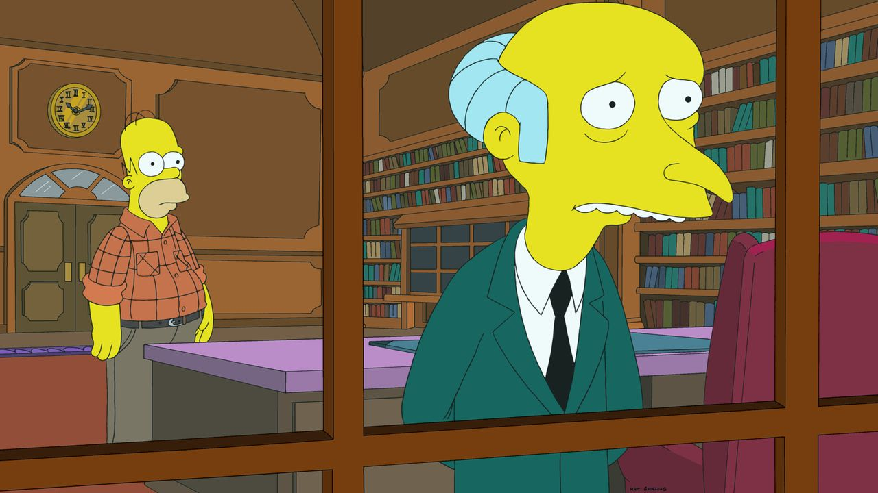 Zu Marges Unverständnis arbeitet Homer (l.) weiterhin für Mr. Burns (r.), obwohl er Fracking unterstützt ... - Bildquelle: 2014 Twentieth Century Fox Film Corporation. All rights reserved.