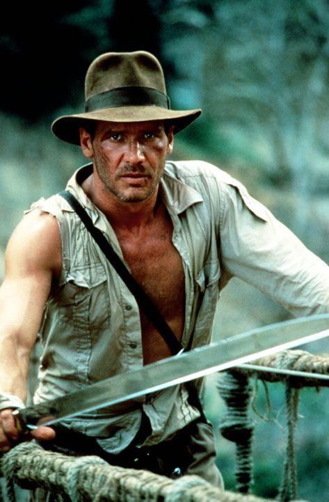 Die heiligen Sankara Steine oder Leben! Auf einer wackligen, alten Hängebrücke über einer tiefen Schlucht endet Indianas (Harrison Ford) rasante... - Bildquelle: Paramount Pictures