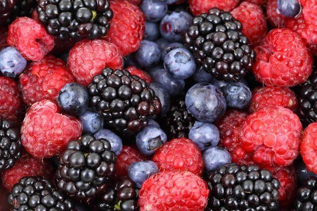 5) frische Früchte: Brombeeren und Blaubeeren auf der KleidungBrombeeren:- m...