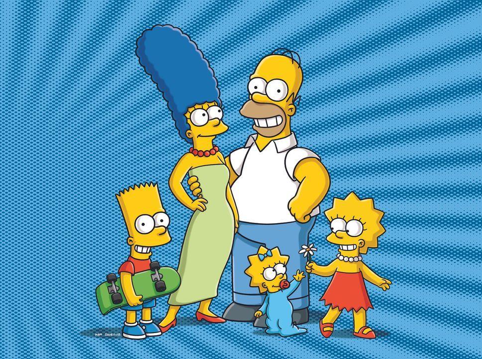 (24. Staffel) - Eine ganz besondere Familie: Maggie (vorne), Marge (2.v.l.), Homer (2.v.r.), Bart (l.) und Lisa Simpson (r.) ... - Bildquelle: und TM Twentieth Century Fox Film Corporation - Alle Rechte vorbehalten