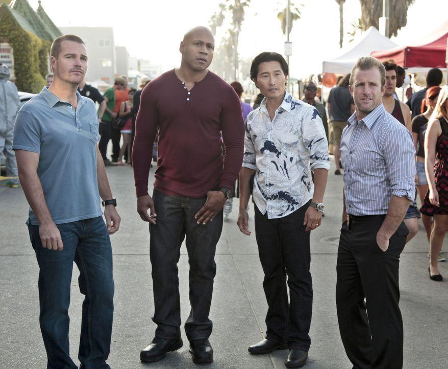 Gemeinsam ermitteln sie in einem Fall: Callen (Chris O'Donnell, l.), Sam (LL Cool J, 2.v.l.), Chin (Daniel Dae Kim, 2.v.r.) und Danny (Scott Caan, r... - Bildquelle: CBS Studios Inc. All Rights Reserved.