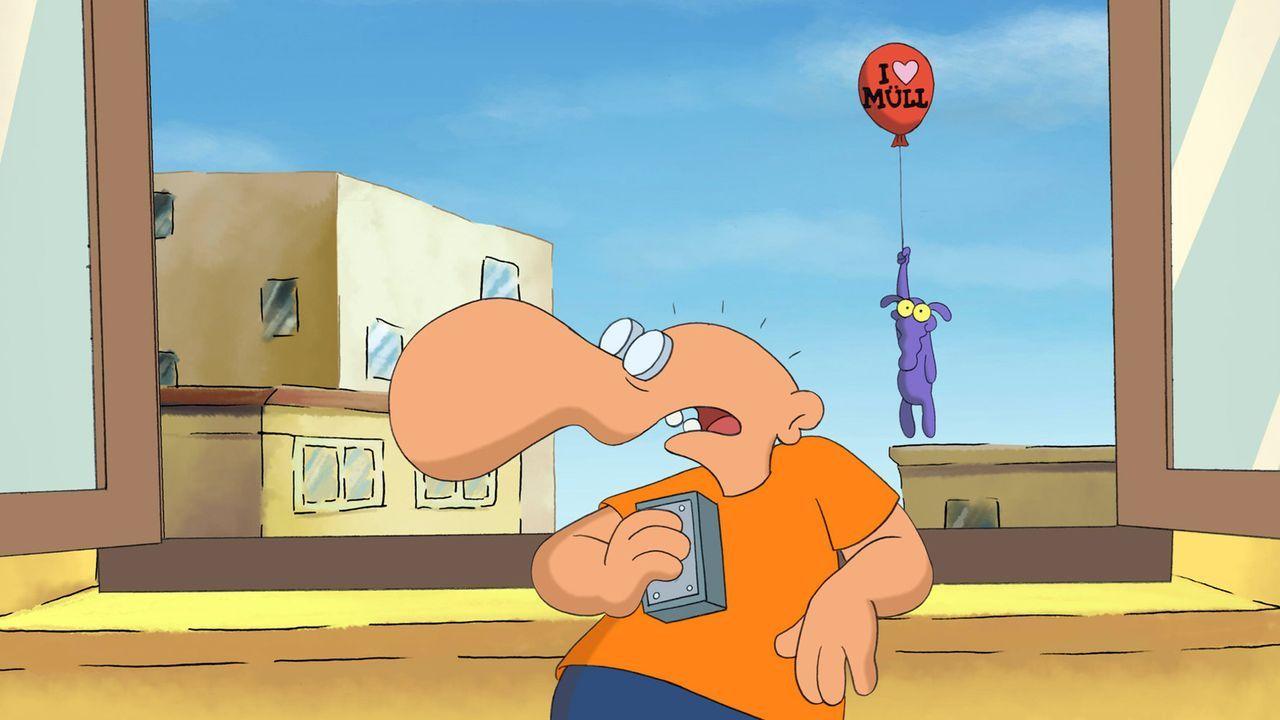 Nur Dank eines Heliumballons kann sich Hund Peppi sich vor den Experimenten des kleinen Arschlochs retten ... - Bildquelle: 2006 Senator Film