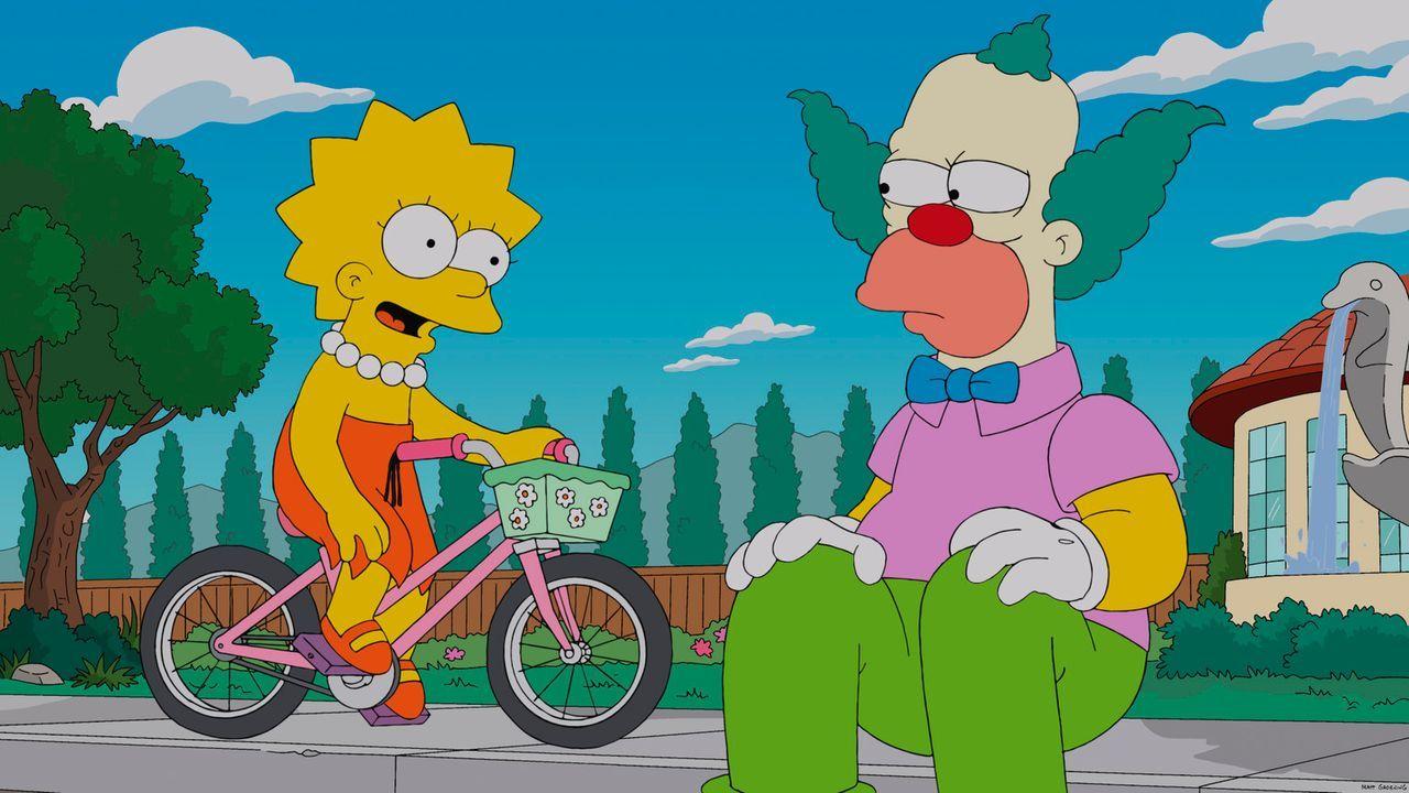 Lisa (l.) greift Krusty (r.) unter die Arme, da er mal wieder komplett pleite ist, während Bart hofft, zum Schulausflug mitgenommen zu werden ... - Bildquelle: 2013 Twentieth Century Fox Film Corporation. All rights reserved.