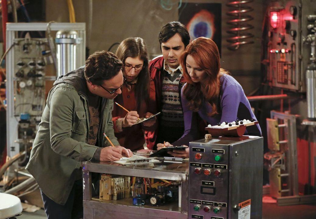 Während Penny und Sheldon an einem ganz besonderen Experiment teilnehmen, wollen Leonard (Johnny Galecki, l.), Amy (Mayim Bialik, 2.v.l.), Raj (Kuna... - Bildquelle: Warner Bros. Television