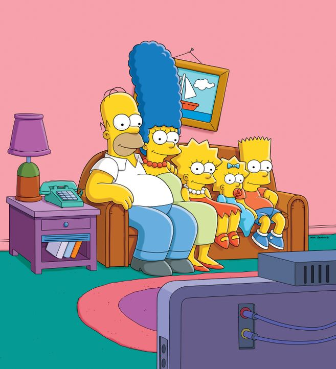 (25. Staffel) - Eine etwas ungewöhnliche Familie: Maggie (2.v.r.), Marge (2.v.l.), Homer (l.), Bart (r.) und Lisa Simpson (M.) ... - Bildquelle: 2014 Twentieth Century Fox Film Corporation. All rights reserved.