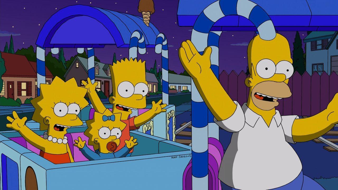 Glück auf Schienen: Homer (r.) mit seinen Kindern Lisa (l.), Maggie (2.v.l.) und Bart (2.v.r.) ... - Bildquelle: und TM Twentieth Century Fox Film Corporation - Alle Rechte vorbehalten