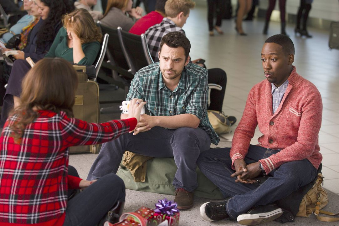 Machen das Beste aus der verworrenen Situation: Jess (Zooey Deschanel, l.), Nick (Jake Johnson, M.) Winston (Lamorne Morris, r.) ... - Bildquelle: 2014 Twentieth Century Fox Film Corporation. All rights reserved.