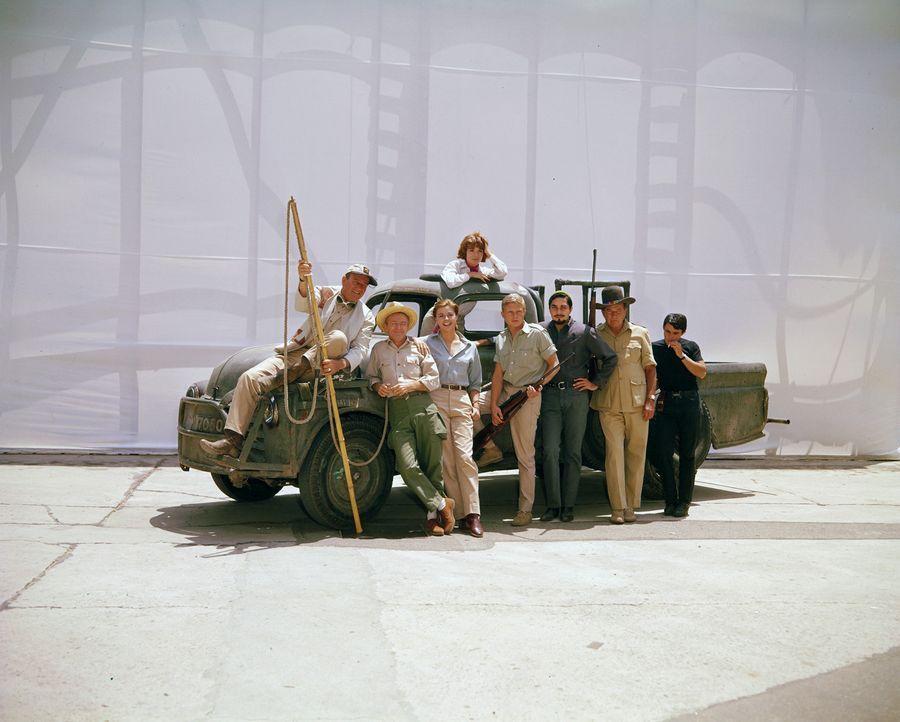 Sie fangen wilde Tiere mit Seilen und Kameras für Zoos und Zirkusattraktionen: (v.l.n.r.) Sean Mercer (John Wayne), Pockets (Red Buttons), Brandy (M... - Bildquelle: 2006 by Paramount Pictures Corporation. All Rights Reserved.