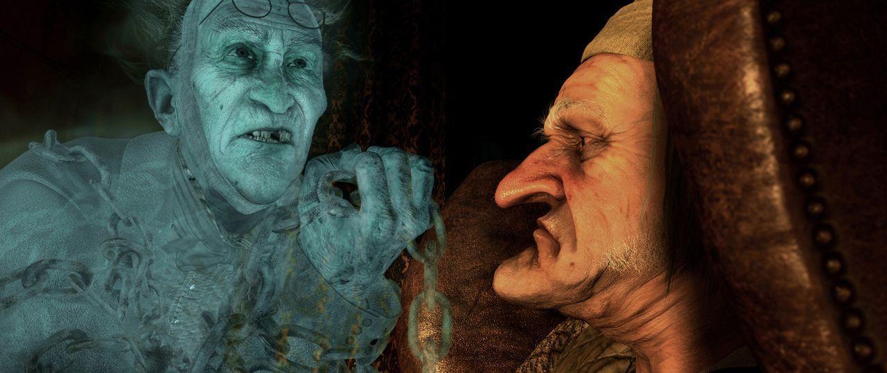 Der selbstsüchtige und eigensinnige, sowie geizige Ebenezer Scrooge (Jim Carrey, r.) bekommt am Heiligabend von seinem bereits verstorbener Freund... - Bildquelle: Walt Disney Pictures/Imagemovers Digital, LLC.