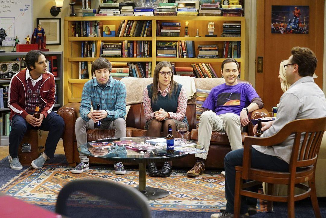 Unstimmigkeiten belasten die Freundschaft zwischen (v.l.n.r.) Raj (Kunal Nayyar), Howard (Simon Helberg), Amy (Mayim Bialik), Sheldon (Jim Parsons)... - Bildquelle: Warner Bros. Television