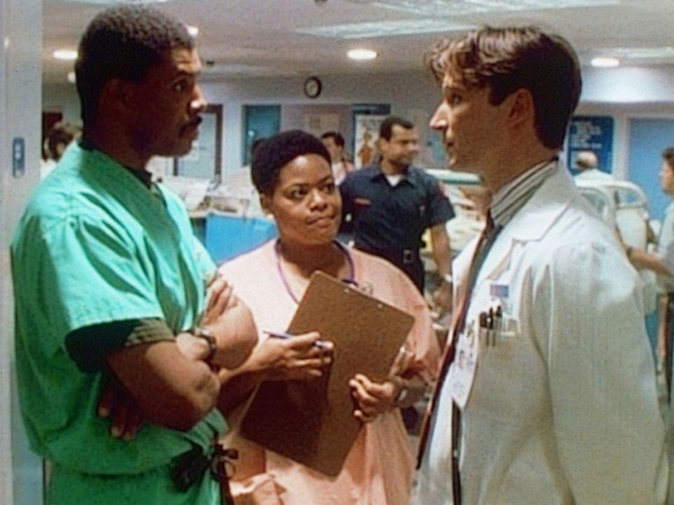 Schwester Haleh (Yvette Freeman, M.) bringt Medizinstudent John Carter (Noah Wyle, r.) zu Dr. Benton (Eric LaSalle), der ihn einweisen wird. - Bildquelle: TM+  WARNER BROS.