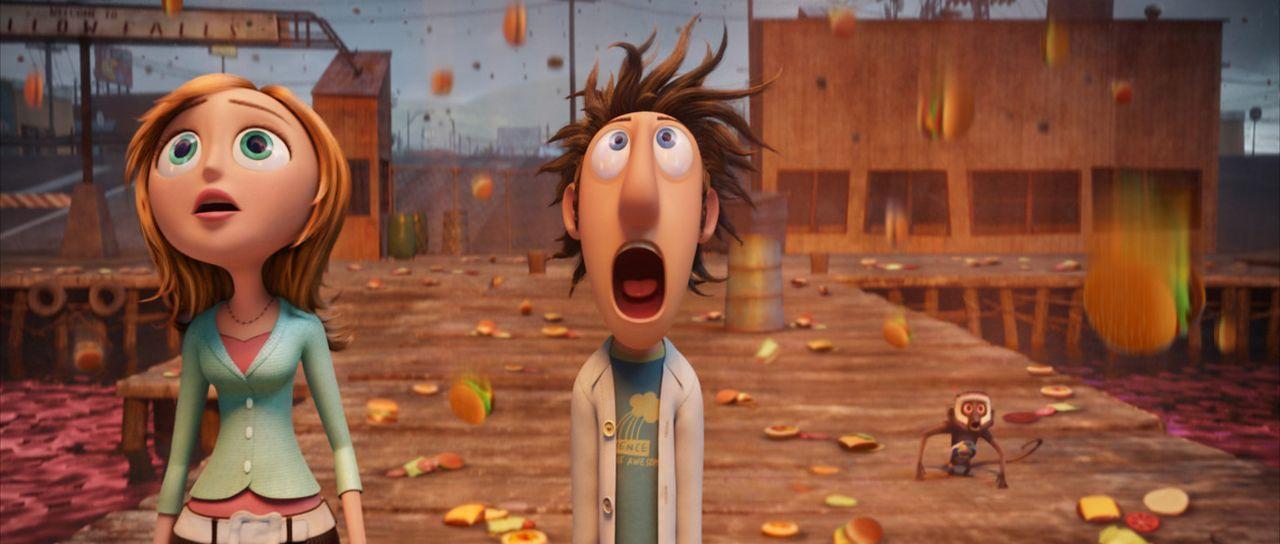 Flint (r.) hegt den Traum, die Menschheit mit seinen Erfindungen zu bereichern. Nach unzähligen fehlgeschlagenen Versuchen scheint ihm endlich der... - Bildquelle: 2009 Sony Pictures Animation Inc. All Rights Reserved.