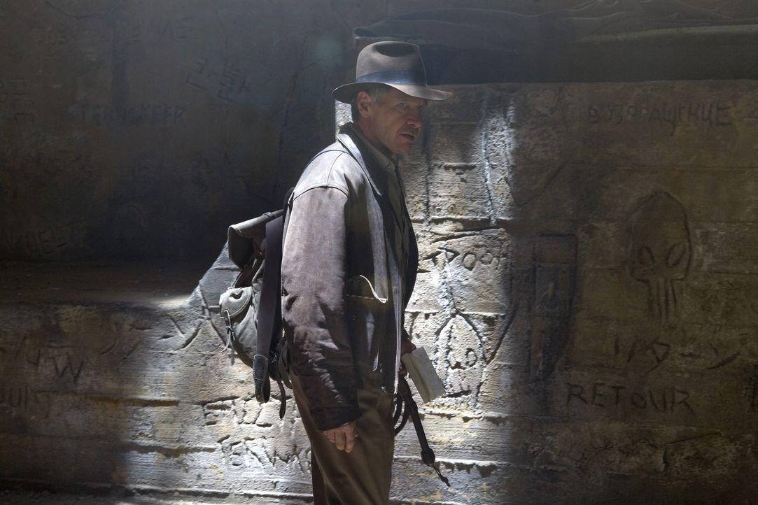 Auf der geheimnisvollen Suche nach dem Kristallschädel: Indiana Jones (Harrison Ford) ... - Bildquelle: David James & TM 2008 Lucasfilm Ltd. All Rights Reserved.