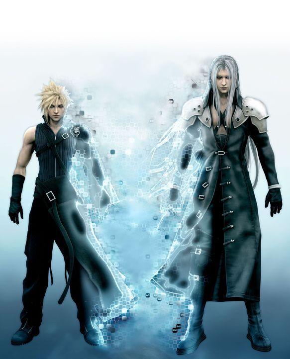 Nachdem Cloud (l.) den Bösewicht Sephiroth (r.) besiegt hatte, war es eigentlich sehr friedlich auf dem Planeten Gaia. Doch nun bedroht eine gefäh... - Bildquelle: 2005 Square Enix Co., LTD. All Rights Reserved.