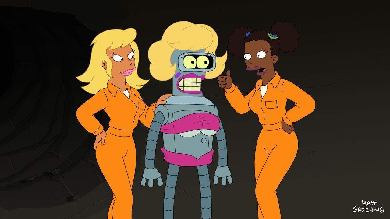 Klappt Leelas Plan, Bender (M.) per Verkleidung die Wachen ablenken zu lassen? - Bildquelle: 2009 Twentieth Century Fox Film Corporation. All rights reserved.