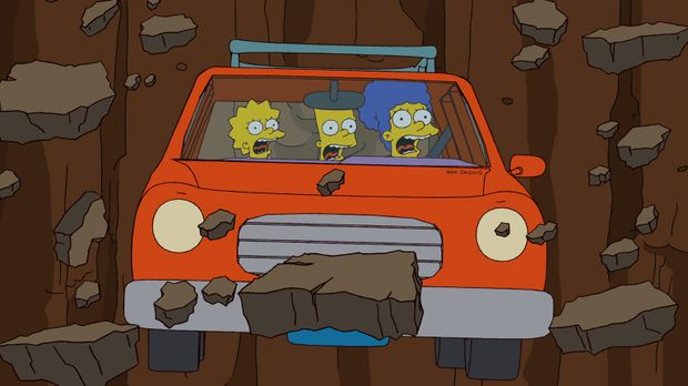 Was ist nur mit Bart (M.), Lisa (l.) und Marge (r.) los? © 2012-2013 Fox and...