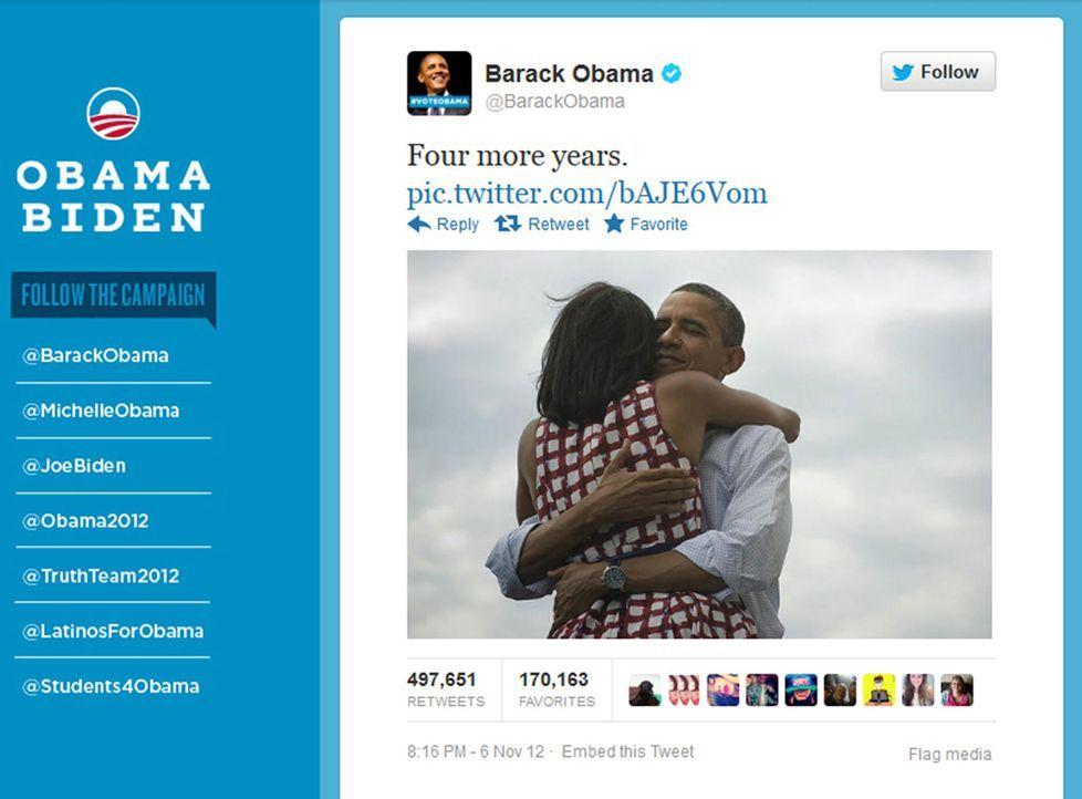 Obamas Twitter-Rekord - Bildquelle: dpa - Bildfunk +++ Verwendung nur in Deutschland