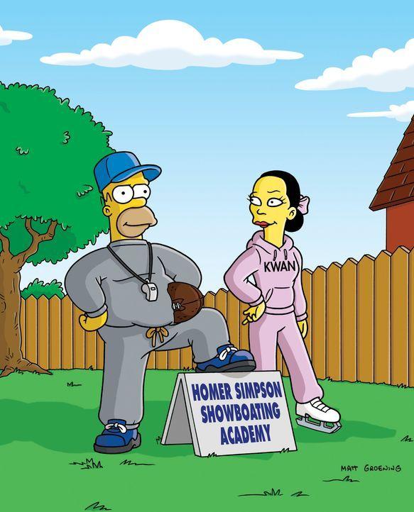 Homer (l.) hat das Interesse der Sportwelt auf sich gezogen ... - Bildquelle: und TM Twentieth Century Fox Film Corporation - Alle Rechte vorbehalten