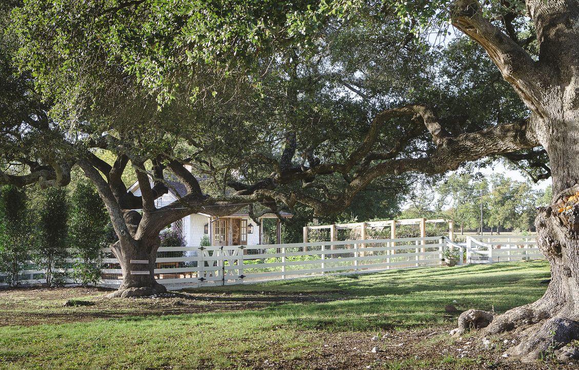 Die Familie Gaines lebt auf einem großen Grundstück auf dem Land. Zu ihrem Wohnhaus soll heute auch ein großer, bunter Garten mit Gartenhaus und Hüh... - Bildquelle: Jennifer Boomer 2018, HGTV/Scripps Networks, LLC. All Rights Reserved.