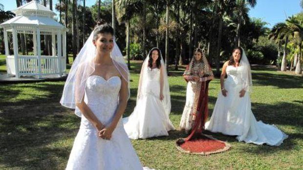 Vier Bräute treten an, im Wettkampf um das schönste Hochzeitsfest: Karen (r.)...