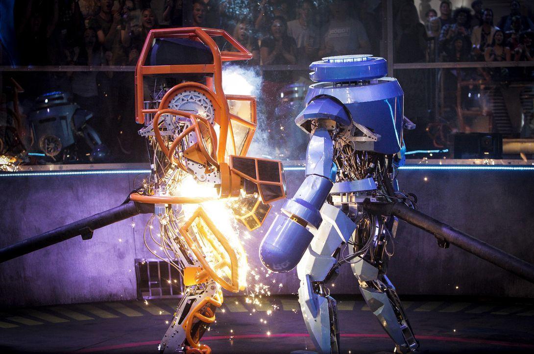 Zwölf Zweier-Teams schlüpfen in überlebensgroße Roboter und liefern sich über drei Runden packende Schlachten in der Arena. Welches Team wird es ins Finale schaffen?