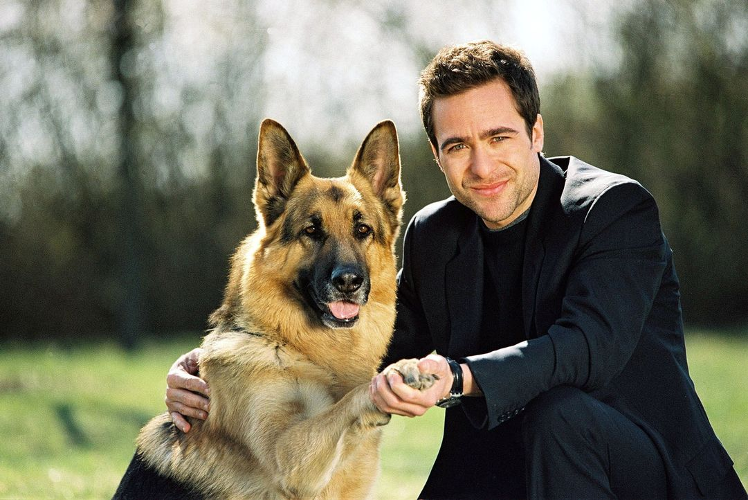Marc Hoffmann (Alexander Pschill) ist stolz auf seinen vierbeinigen Kollegen. Rex hat gerade einen Tierquäler gestellt. - Bildquelle: Ali Schafler Sat.1