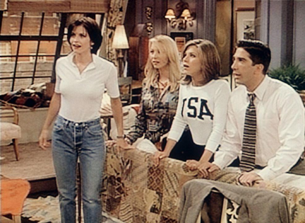 Phoebes (Lisa Kudrow, 2.v.l.) Ehemann ist aufgetaucht. Sehr zum Erstaunen von Monica (Courteney Cox, l.), Rachel (Jennifer Aniston, 2.v.r.) und Ross... - Bildquelle: TM+  2000 WARNER BROS.