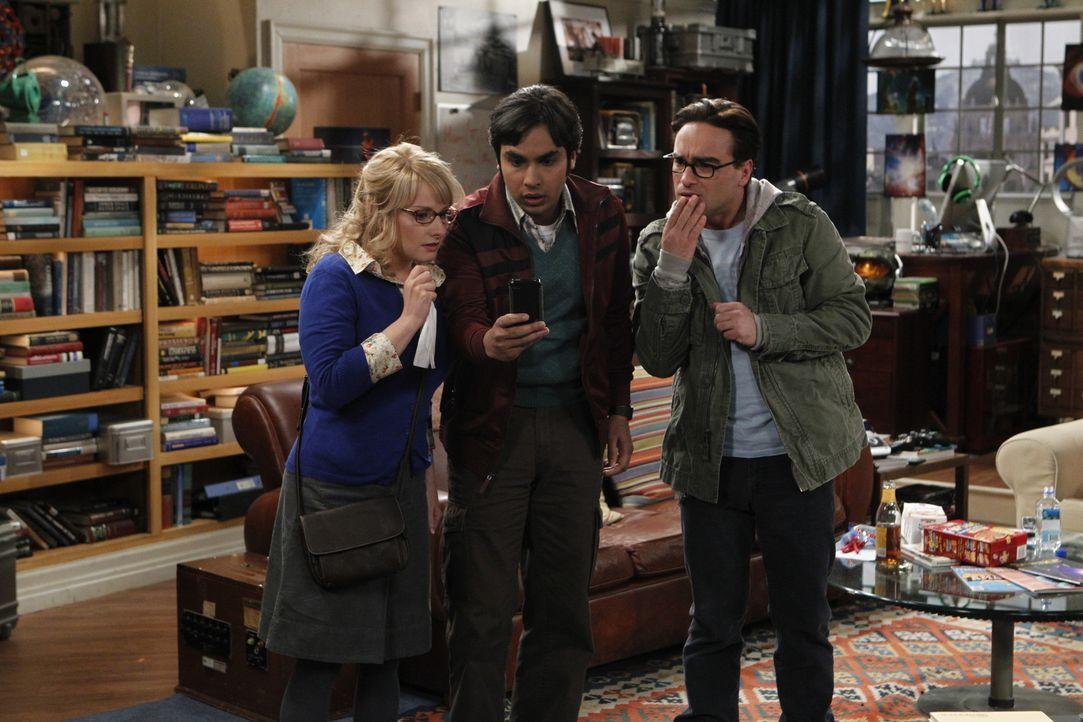 Raj (Kunal Nayyar, M.) rutscht vor den anderen eine Bemerkung raus, die darauf schließen lässt, dass er homosexuelle Neigungen hat. Bernadette (Meli... - Bildquelle: Warner Bros. Television
