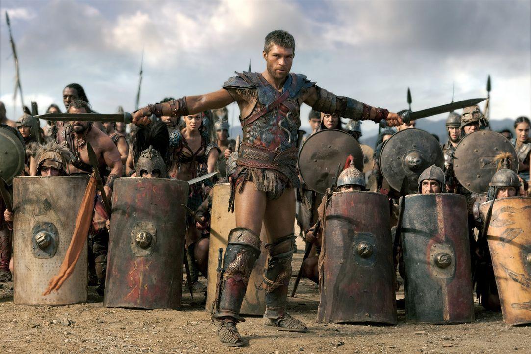 Gemeinsam mit allen seinen Kämpfern zieht Spartacus (Liam McIntyre) in das letzte Gefecht, um entweder die überwältigende Streitmacht von Crassus zu... - Bildquelle: 2012 Starz Entertainment, LLC. All rights reserved.