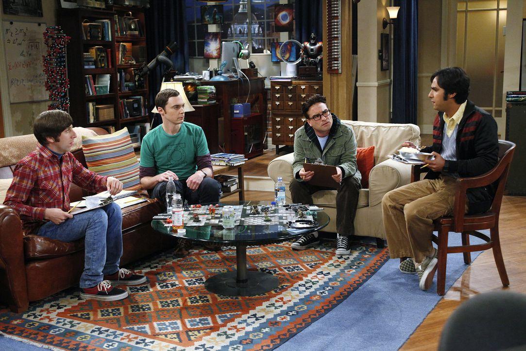 Raj (Kunal Nayyar, r.) bläst Trübsal, weil Sheldon (Jim Parsons, 2.v.l.), Leonard (Johnny Galecki, 2.v.r.) und Howard (Simon Helberg, l.) eine Fre... - Bildquelle: Warner Bros. Television