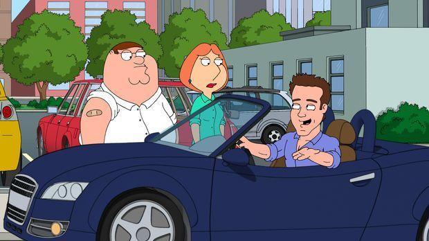 Peter (l.) und Lois (M.) begegnen auf der Straße zufällig Ryan Reynolds (r.)...