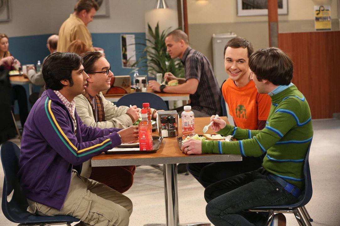 Sind ganz besondere Freunde: Leonard (Johnny Galecki, 2.v.l.), Sheldon (Jim Parsons, 2.v.r.), Rajesh (Kunal Nayyar, l.) und Howard (Simon Helberg, r... - Bildquelle: Warner Bros. Television
