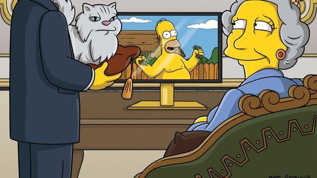 Die Simpsons - Homer (M.) vergisst am Bahnhof eine Reisetasche, worauf die Po...