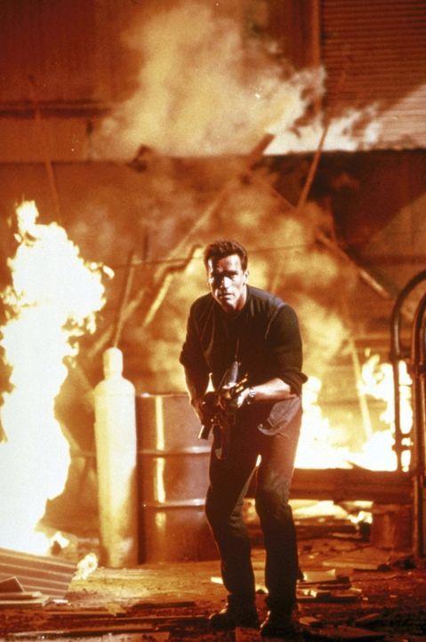 Weil John (Arnold Schwarzenegger) sich weigert, Lees Aufenthaltsort preiszugeben, beginnt eine gnadenlose Hetzjagd ... - Bildquelle: Warner Brothers International Television Distribution Inc.