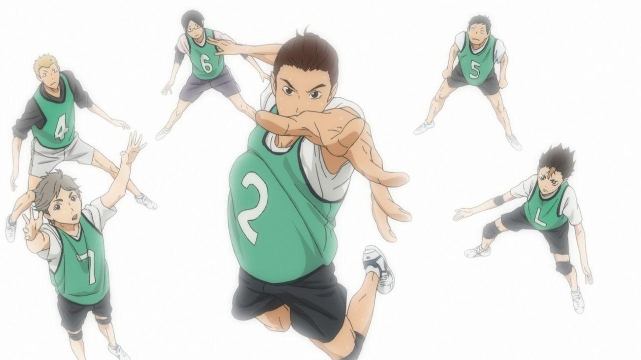 """(v.l.n.r.) Koshi Sugawara; Yusuke Takinoue; Makoto Shimada; Asahi Azumane; Yukinari Mori; Yu Nishinoya - Bildquelle: H.Furudate / Shueisha,""""Haikyu!!?Project,MBS"""