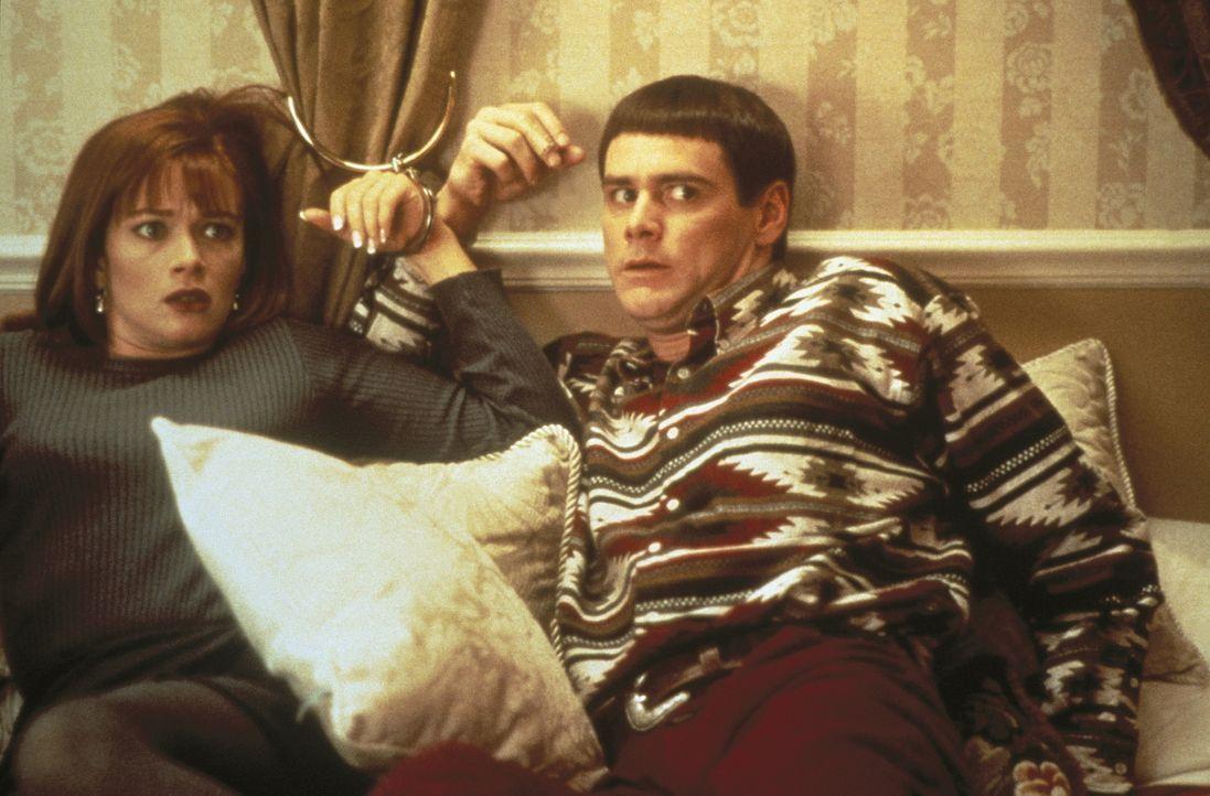 Sie können einfach nicht voneinander lassen: Mary (Lauren Holly, l.) und Llyod (Jim Carrey, r.) ... - Bildquelle: New Line Cinema