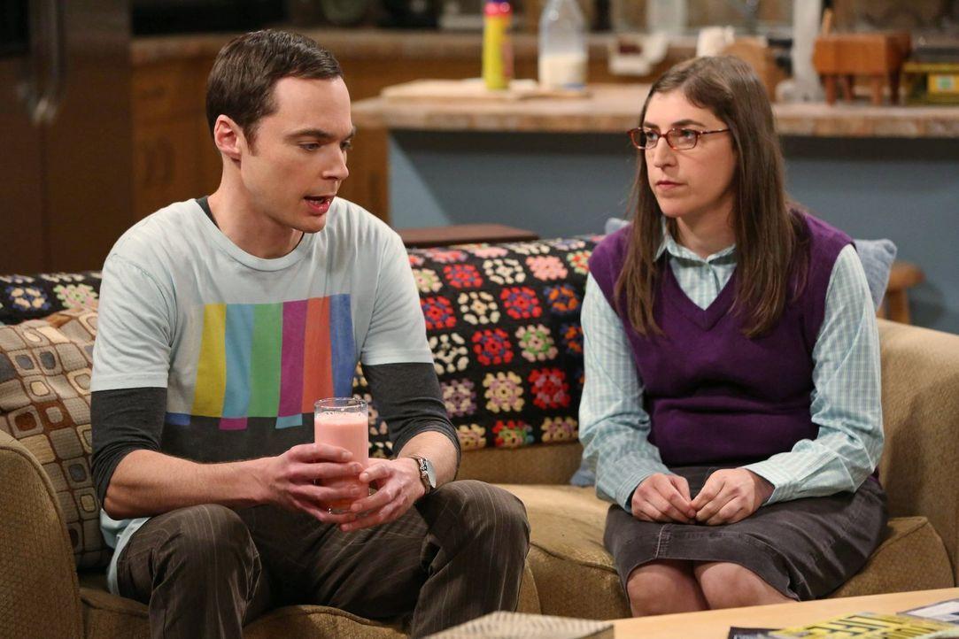 Sind nicht einer Meinung: Amy (Mayim Bialik, r.) und Sheldon (Jim Parsons, l.) ... - Bildquelle: Warner Brothers